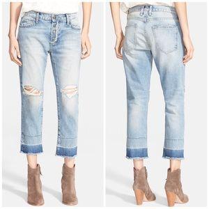 Current Elliott Destroyed Fling Cropped Jeans
